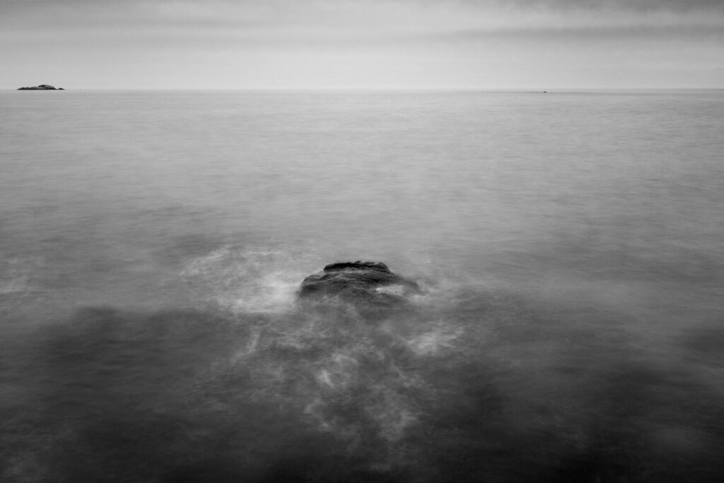 Black and White Photo of Ocean